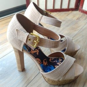 Qupid Strappy Canvas and Cork Heels